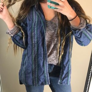 Vintage Bohemian Aztec Purple Oversized Flannel